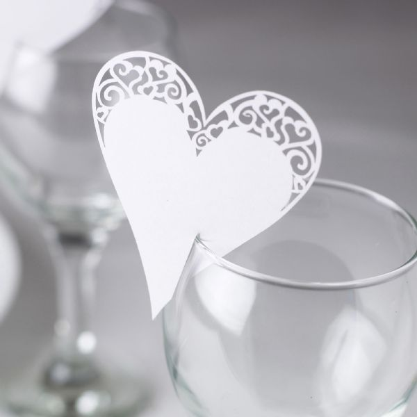White Laser Cut Place Cards For On Glasses (10)